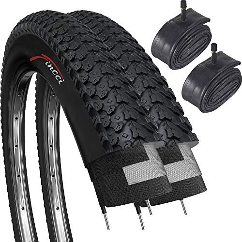 2 X BICYCLE TYRES WITH INNER TUBES 26 X 1.95 MOUNTAIN BIKE WITH SHRADER VALVES
